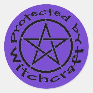 Protegido por las etiquetas de los pegatinas del pegatina redonda