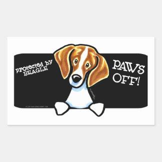 Protegido por las patas del beagle apagado pegatina rectangular