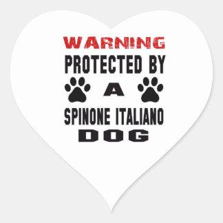 Protegido por un perro de Spinone Italiano Pegatina En Forma De Corazón