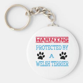 Protegido por un perro de Terrier galés Llavero Redondo Tipo Chapa