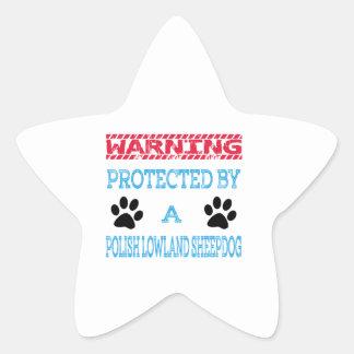 Protegido por un perro pastor polaco de la tierra pegatina en forma de estrella