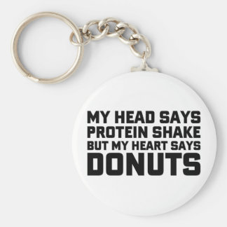 Protein Shake or Donuts Keychain
