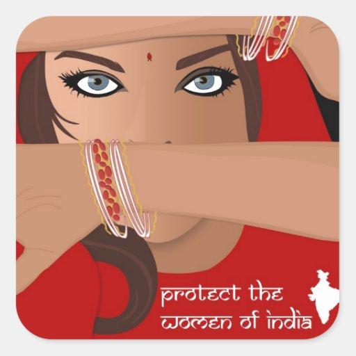 Proteja a las mujeres de la India Pegatina Cuadrada