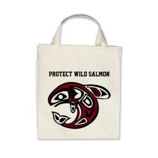 Proteja el bolso de color salmón salvaje bolsa lienzo