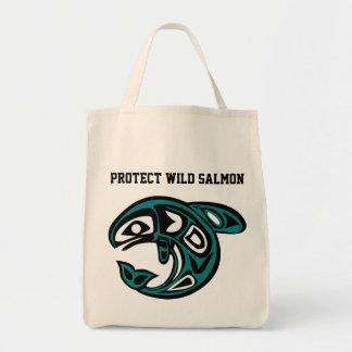 Proteja el bolso de color salmón salvaje bolsa tela para la compra