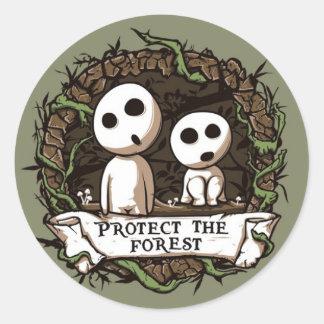 ¡Proteja el bosque! Pegatina Redonda