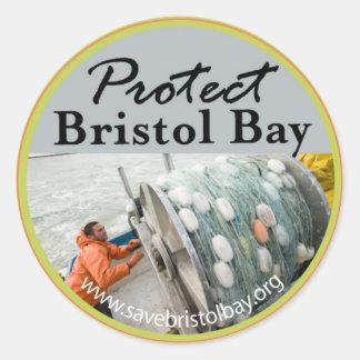 Proteja la bahía de Bristol Pegatina Redonda