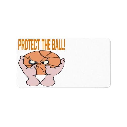 Proteja la bola etiquetas de dirección