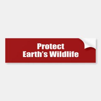 Proteja la fauna de la tierra etiqueta de parachoque