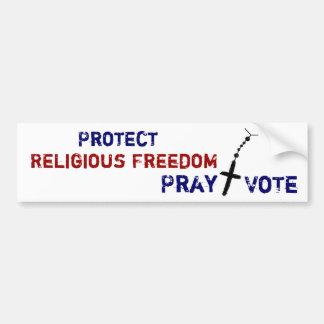 Proteja la libertad religiosa ruegan+Pegatina para Pegatina Para Auto
