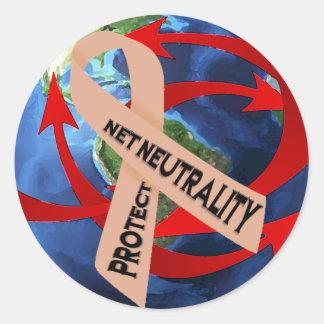 Proteja la neutralidad neta/la conciencia neta de pegatina redonda