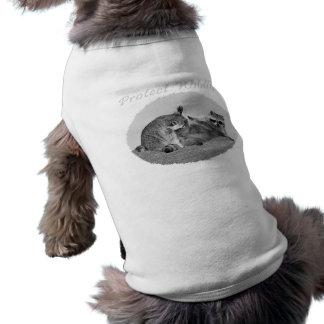 Proteja la ropa del mascota del mapache de la faun playera sin mangas para perro