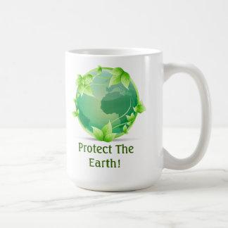 Proteja la tierra taza básica blanca