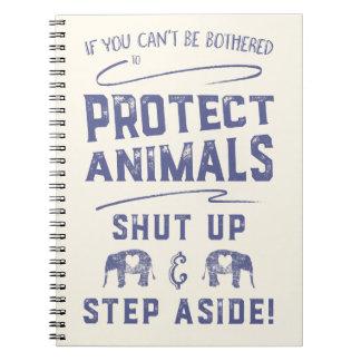Proteja los animales libro de apuntes con espiral