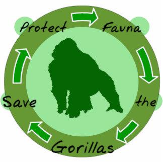 Proteja los gorilas fotoescultura vertical