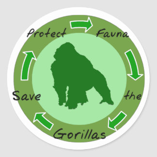 Proteja los gorilas pegatina redonda