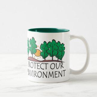 Proteja nuestra taza del Dos-Tono del ambiente