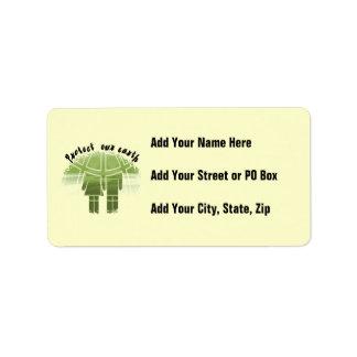Proteja nuestras camisetas y regalos de la tierra etiqueta de dirección