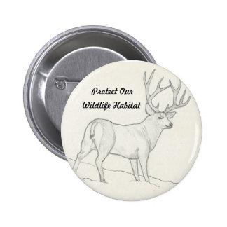 Proteja nuestro botón del hábitat de la fauna pin redondo de 2 pulgadas