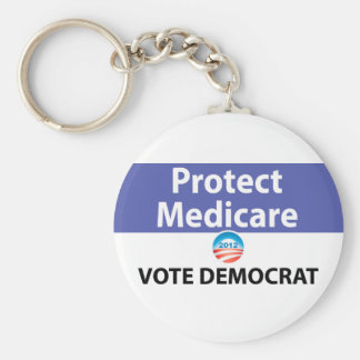 Proteja Seguro de enfermedad: Vote a Demócrata Llavero Redondo Tipo Pin