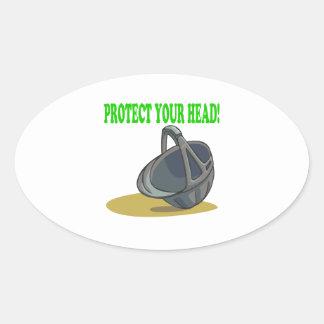 Proteja su cabeza pegatina ovalada