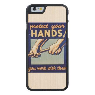 Proteja sus manos que usted trabaja con ellas el funda de iPhone 6 carved® de arce