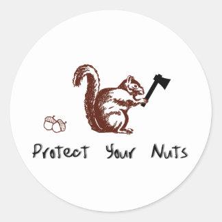 Proteja sus nueces pegatinas redondas