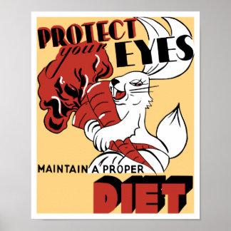 Proteja sus ojos mantienen una dieta apropiada -- poster