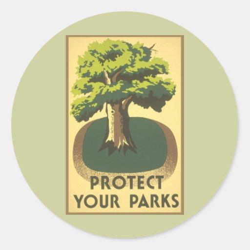 Proteja sus parques pegatina redonda