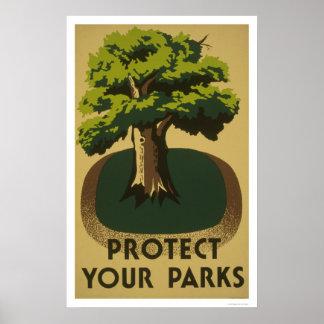 Proteja sus parques WPA 1938 Poster
