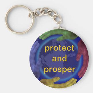Proteja y prospere llavero redondo tipo pin