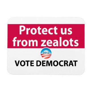 Protéjanos contra defensores: Vote a Demócrata Imán Rectangular