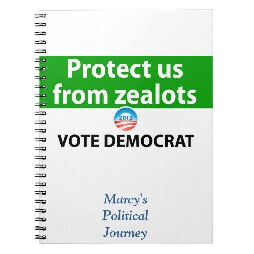 Protéjanos contra defensores: Vote a Demócrata Libros De Apuntes Con Espiral