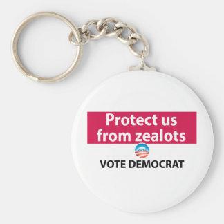 Protéjanos contra defensores: Vote a Demócrata Llavero Redondo Tipo Pin