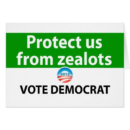 Protéjanos contra defensores: Vote a Demócrata Tarjeta De Felicitación