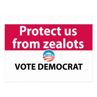 Protéjanos contra defensores: Vote a Demócrata Tarjeta Postal
