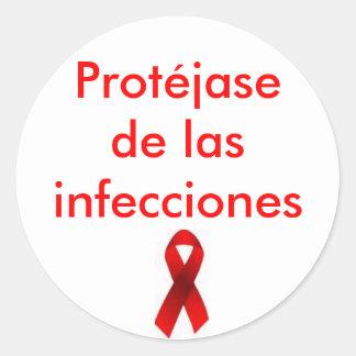Protéjase de las infecciones pegatina redonda
