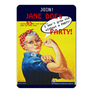 Protest Aging Rosie the Riveter Party Invitation! Card