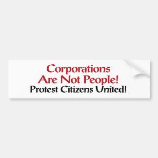 Protest Citizens United Bumper Sticker Car Bumper Sticker