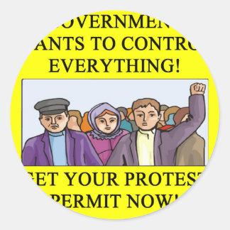 PROTEST  liberal dictatorship Round Sticker