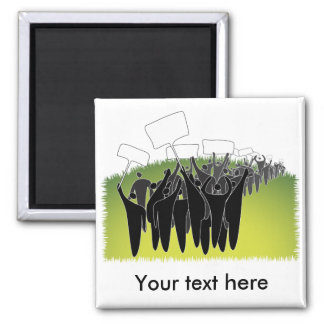 Protest with signs - Green environment 2 Inch Square Magnet