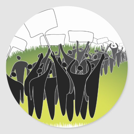 Protest with signs - Green environment Sticker