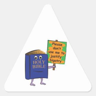Protesta de la biblia pegatina triangular
