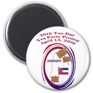 Protesta de la fiesta del té del día del impuesto  imán redondo 5 cm