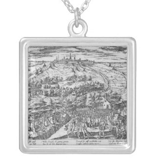 Protestants meeting in the open around Antwerp Silver Plated Necklace