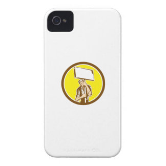 Protester Activist Union Worker Placard Sign Woodc Case-Mate iPhone 4 Case