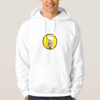 Protester Activist Union Worker Placard Sign Woodc Hooded Sweatshirt