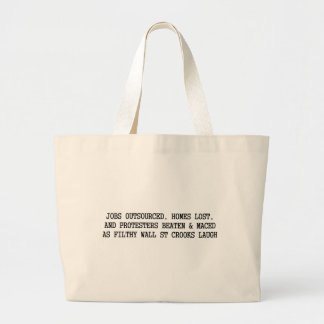 protesters beaten and maced, wall st crooks laugh large tote bag