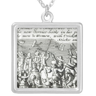 Protesters in Edinburgh, 1637 Silver Plated Necklace