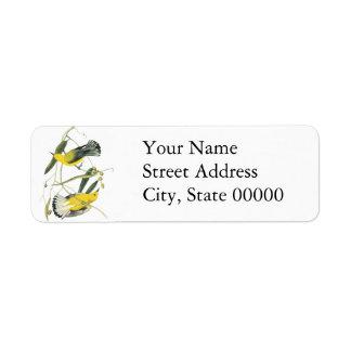 Prothonotary Warbler, John Audubon Custom Return Address Label